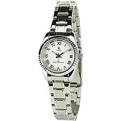 GG LUXE -Damen Armbanduhr Silber Quarz Gehäuse Stahl Analog Display Typ - Water resist 30M-3ATM Armband Stahl Silber
