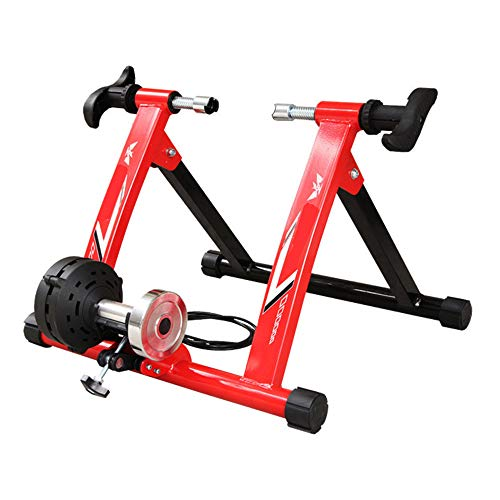 Turbo Trainer Drahtgesteuerter Indoor Mountain Road-Trainingsplattform-Turbotrainer, Indoor Bike-Trainer mit variablem Widerstand for Mountainbikes Indoor Fahrrad ( Farbe : Rot , Größe : 26-28' ) -