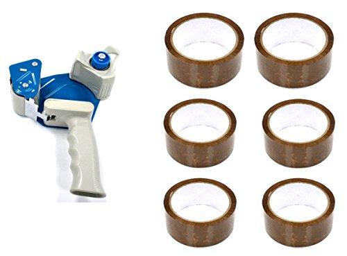 Heavy Duty Weight Dispensador de cinta adhesiva que viene con 6 rollos de cinta gratis ... (TAPE DISPENSER + 6 BROWNTAPE)