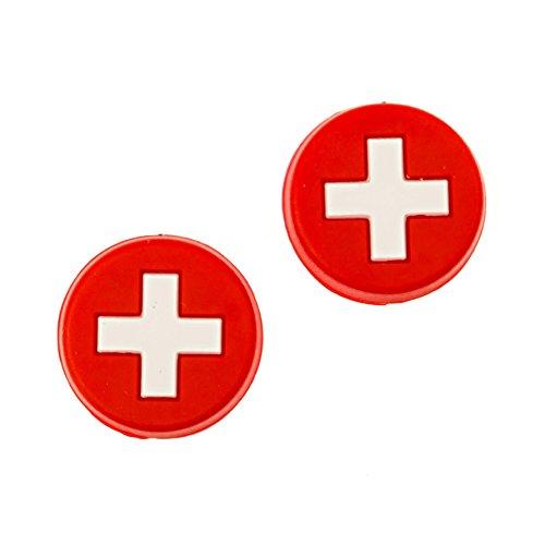 Tennis Feel • Nationalflaggen • Vibrationsdämpfer für Tennisschläger • 7 Länder • 2/5er Pack Dämpfer (Schweiz, 5 pcs)