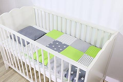 BEBILINO ® Babybettwäsche Grün Grau (2 tlg. Baby Bettset: Kissenbezug 35x40 cm & Bettdeckenbezug 80x80 cm, 100% reine Baumwolle, ÖkoTex Standard 100-zertifiziert, Motiv: Sterne, Patchwork