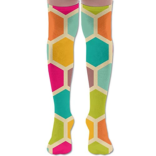 Verkauf Spider Kostüm Für Mann - Bgejkos Colorful Hexagon Spider Web Over-The-Calf Adult Knee High Socks