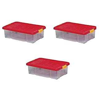 Artecsis 3 x Storage boxes with lid, 60 x 40 x 18 cm, plastic, with wheels, stackable, capacity 34 litres