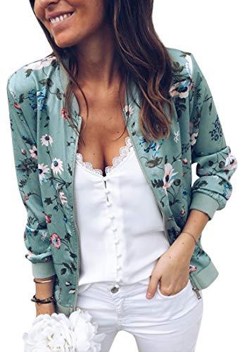 ECOWISH Damen Casual Jacke Blumenmuster Langarm Bomberjacke Reißverschluss Stehkragen Outwear Kurz Coat Herbst Frühling Grün S