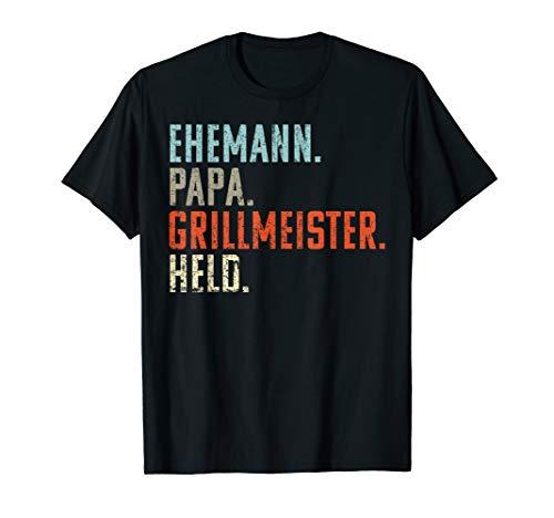 Herren Ehemann Papa Grillmeister Held | Vintage Vatertags Geschenk T-Shirt -