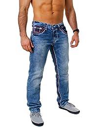 5fc112ab373e Amica Herren denim Jeans Hose straight leg gerade Passform vintage look mit  Kontrastnähte