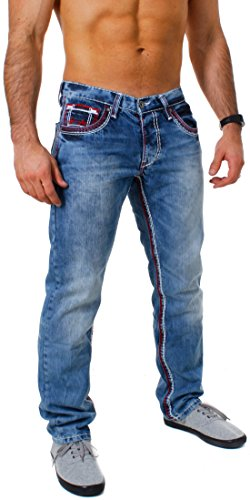 Amica Herren denim Jeans Hose straight leg gerade Passform vintage look mit Kontrastnähte, Grösse:W34;Farbe:Blau / Rot-Weiß