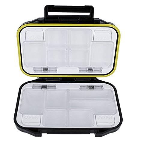 Ezyoutdoor Plastic 12 Compartments Storage Case Fly Fishing Lure Spoon Hook Bait Tackle Box Waterproof Black
