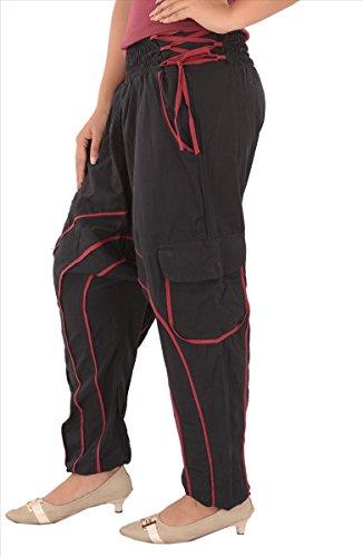 Röcke & Schals Damen Baumwolle Afghani Yoga/Harem Hose/Pyjama, (lila) Schwarz