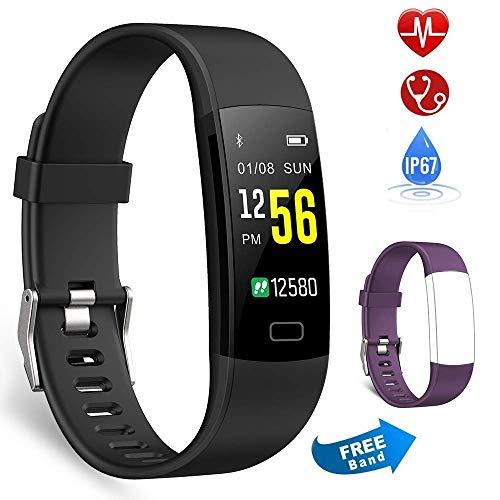 Semaco Pulsera Actividad Inteligente Pantalla Color de Deporte GPS Pulsómetro Monitor de Ritmo Cardíaco Impermeable IP67 Reloj Inteligente Podómetro para Hombre Mujer o Niños (Morado+Negro)
