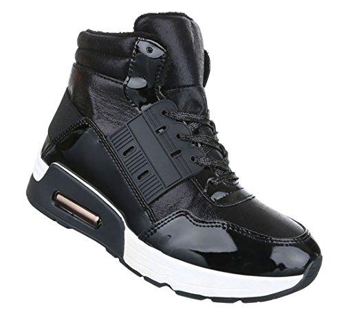 Damen Freizeitschuhe Schuhe Runner Sportschuhe Sneakers Schnürer Schwarz Grau 36 37 38 39 40 41 Schwarz