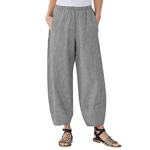 Damen Plus Size Weite Hose, routinfly Comfort Straight Wide Leg Lose gestreifte Taschenhose Hose - Bi-stretch-gerades Bein Hose