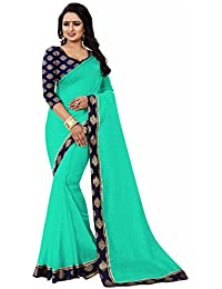 Sarees For Women Sarees New Collection Sarees For Women Latest Design Women's Sea Green Chanderi Cotton Saree...