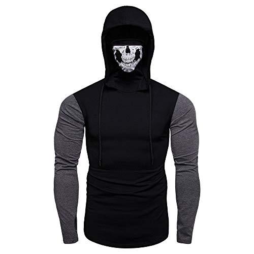 (Xmiral Mens Pullover Maske Skull Pure Color Langarm-Kapuzenpulli Tops zum Karneval(XL,B-Schwarz))