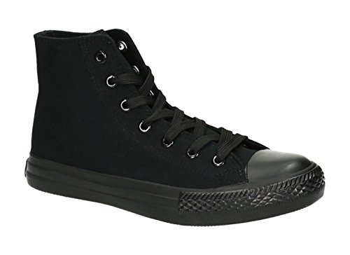 JUMEX Neu Damen Sneakers Freizeit Turnschuhe High Top Schuhe (41, Schwarz 2)