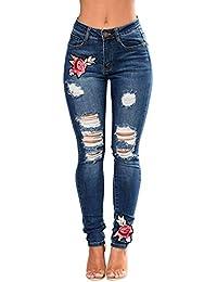 wyhweilong Las Señoras Mujer Adelgazan Los Pantalones Vaqueros Bordados de  Flores de Cintura Alta S- cb2c761acee7