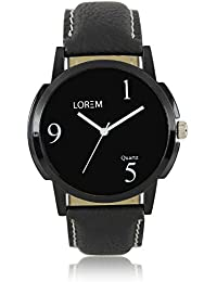BORICHA® Black Color Leather Strap Round Dial Analog Watch For Men And Boys - LR06