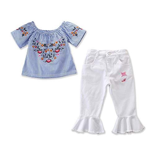 PPangUDing Kinderkleidung Bekleidungsset Baby MäDchen Kleider Kindermode Neugeborenes Schulterfrei Tops Denim Hose Outfit Kleidung Set