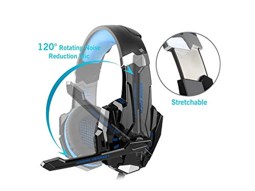 Kotion Every: Over the Ear Headsets with Mic & LED - G9000 Edition for PC/ iPad/ iPhone/ Tablets/ Mobile Phones (Black/Blue) Image 3
