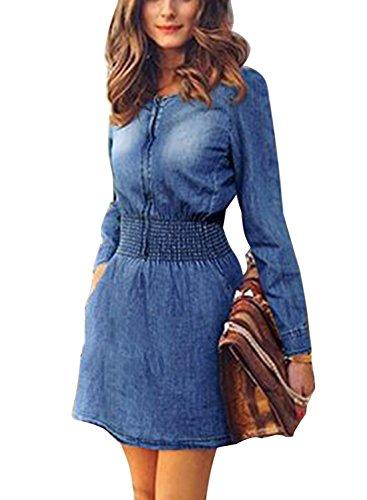 Minetom moda abito di jeans corto gonna maniche lunghe casuale vestito dal denim blu it 40