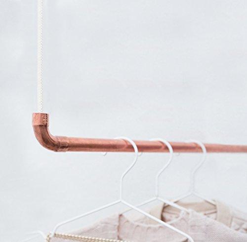 Design Kleiderstange von rod & knot ? THE COPPERROPE aus Kupfer und Baumwollseil (weiß) hängend, Decken-Besfestigung, Kleiderständer oder Garderobe, Vintage, Antik - 110 cm