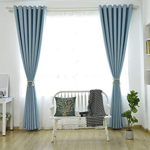 YANQ Vorhang Fertig Nordic Einfarbig Baumwolle Und Leinen Blackout Wohnzimmer Schlafzimmer Vorhangstoff (Farbe : Blau, größe : 300cm*270cm)