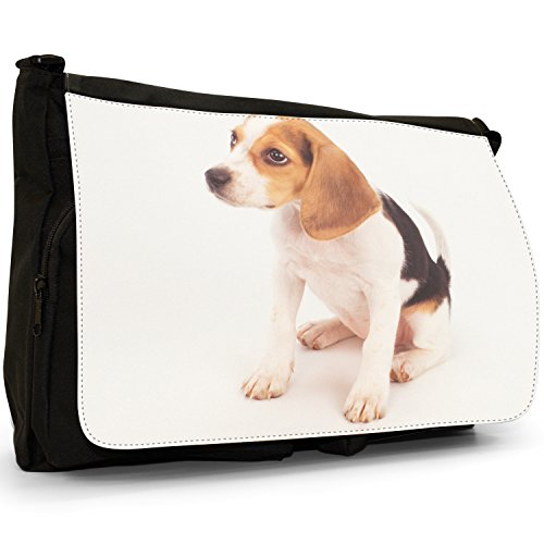 Fancy A Bag Borsa Messenger nero Beagle Dog Beagle Puppy Dog