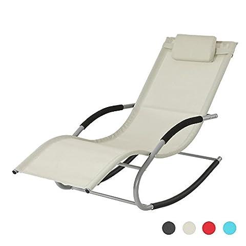 Chaise Longue A Bascule Jardin - SoBuy® OGS28-MI Fauteuil à bascule Chaise longue