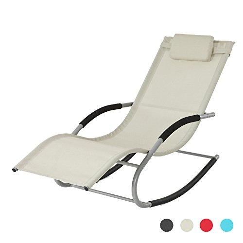 SoBuy® Poltrona dondolo, Sdraio Relax, Sedia a sdraio, Con poggiatesta, beige,,OGS28-MI,IT