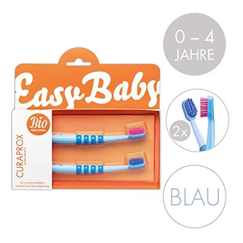 CURAPROX Baby-Zahnbürste, extra weiche Borsten, kleiner Kopf, für die ersten Milchzähne, blau, 2 Stück