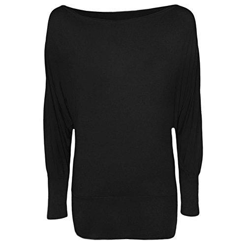 Damen Schulterfreies Lange Fledermaus Ärmel Jersey Top Shirt Größen 34 - 40 Alle Farben - Schwarz, (Outfits Komplette)