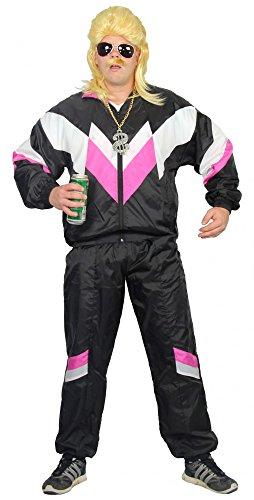 Foxxeo 40215 | Premium 80er Jahre Trainingsanzug Kostüm für Erwachsene | schwarz pink weiß S - XXXL, Größe:XXXL