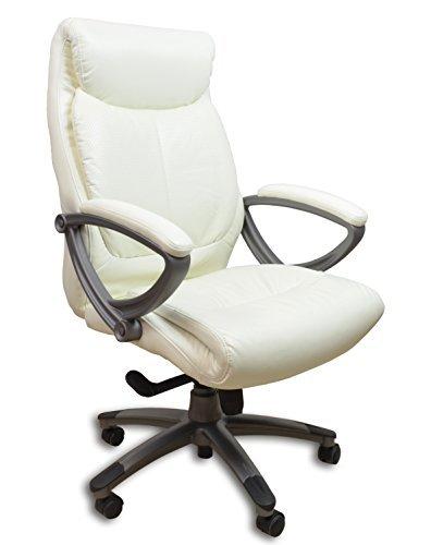Chefsessel KINGS - Weiss Anthrazit Kunstleder - Bürostuhl Schreibtischstuhl Drehstuhl Sessel Stuhl PokerStuhl Casinostuhl