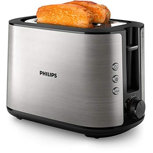 Philips HD2650/90 Toaster Edelstahl (950 W, 8 Bräunungsstufen, Brötchenaufsatz, Auftau- und Aufwärmfunktion, Stopp-Taste, Liftfunktion)