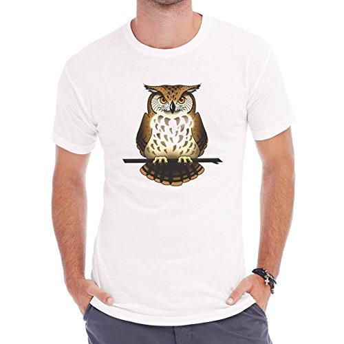 Owl Bird Night Midnighter Brown Fat Herren T-Shirt Weiß