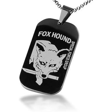 Collana Tag Titanio Acciaio Fox Hound Dog, pendente della collana del serpente per gli uomini