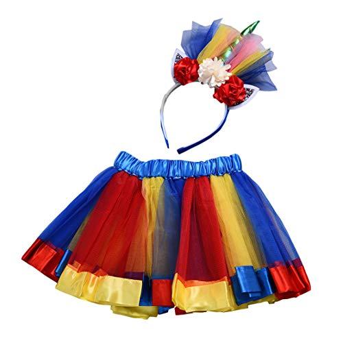 Tutu Rock Mädchen Regenbogen mit Einhorn Blumen Stirnband Kinder Einhorn Kostüme für Party Karneval Cosplay