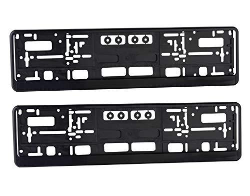 Kennzeichenhalter Nummernschildhalter Set Schwarz für PKW 2 Stück