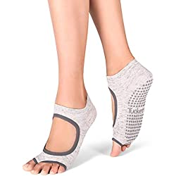 Tucketts - Calcetines de yoga para mujer, antideslizantes, calcetines de pilates con agarres, sin dedos antideslizantes, sin tiro, tobillo, calcetines para barra, deportes, ballet, baile, entrenamient