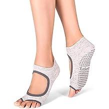 Tucketts - Calcetines de yoga para mujer, antideslizantes, calcetines de pilates con agarres,