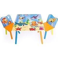 Preisvergleich für Homestyle4u 1120 Kindersitzgruppe Meer Fische , Kindermöbel Set aus 1 Kindertisch und 2 Stühle , Holz Blau Bunt