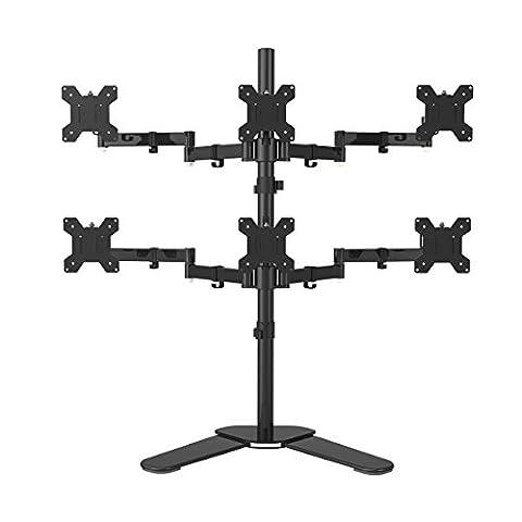 Suptek Hex Support pour bras Support pour bureau Support robuste et entièrement réglable 6 écrans jusqu'à 27'' avec inclinaison ± 15 °, rotation à 360 ° et 180 ° - Max VESA 100x100 ML68126
