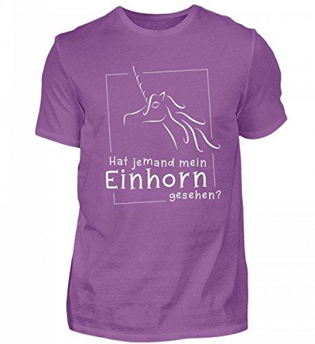 Camicia Biologica Da Uomo Di Alta Qualità Shirtee - Ricercata - Qualcuno Ha Visto Il Mio Unicorno? La Maglietta Per Tutti Gli Appassionati Di Unicorno A Cui Piace Posare Il Loro Unicorno: Viola