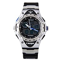 Pasnew Wrist Watch For Boys & Girls Swimming Diving Watch 100M Waterproof Fashion Dual Time Sports Watch LCD with Durable Rubber Band(Black)