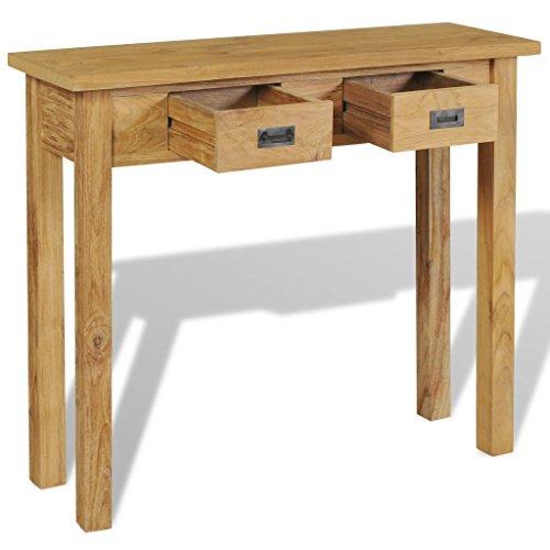 tidyard Konsolentisch Beistelltisch Tischkonsole mit 2 Schubladen, im Kolonialstil aus Massivem Teak, 90 x 30 x 80 cm (L x B x H)