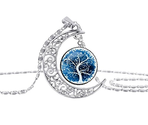 Fengteng Tallado Hueco del Encanto del árbol de Plata del Esquema de la Vida Collar de Cadena de Tiempo de la Gema de la Luna Colgante para las Mujeres (6)