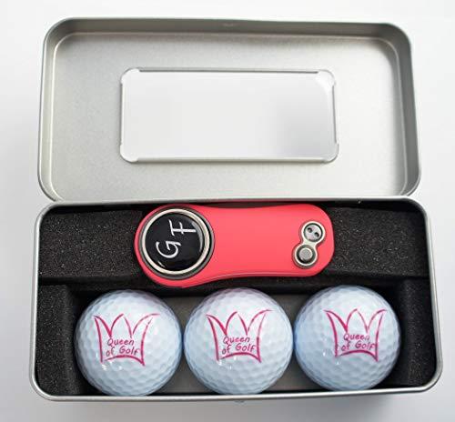 Geschenk-Box: 3 Bälle Queen of Golf + Pitchgabel von Pitchfix mit personalisiertem Golfball-Marker -