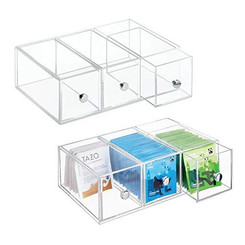 Kunstsoff-Teebox stehen und liegend, 3 Fächer - Teebox-Kontor.de