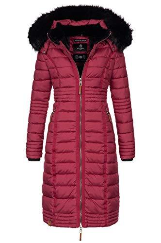 Navahoo Damen Wintermantel Mantel Steppmantel Winter Jacke lang Stepp warm Teddyfell B670 [B670-Uma-Bordeaux-Gr.M]