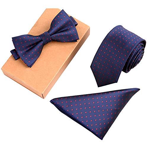 Chinashow Blau Modische Premium Formale/informellen Krawatten Set, Krawatte/Fliege / Einstecktuch für Herren/Jungen, Rote Tupfen